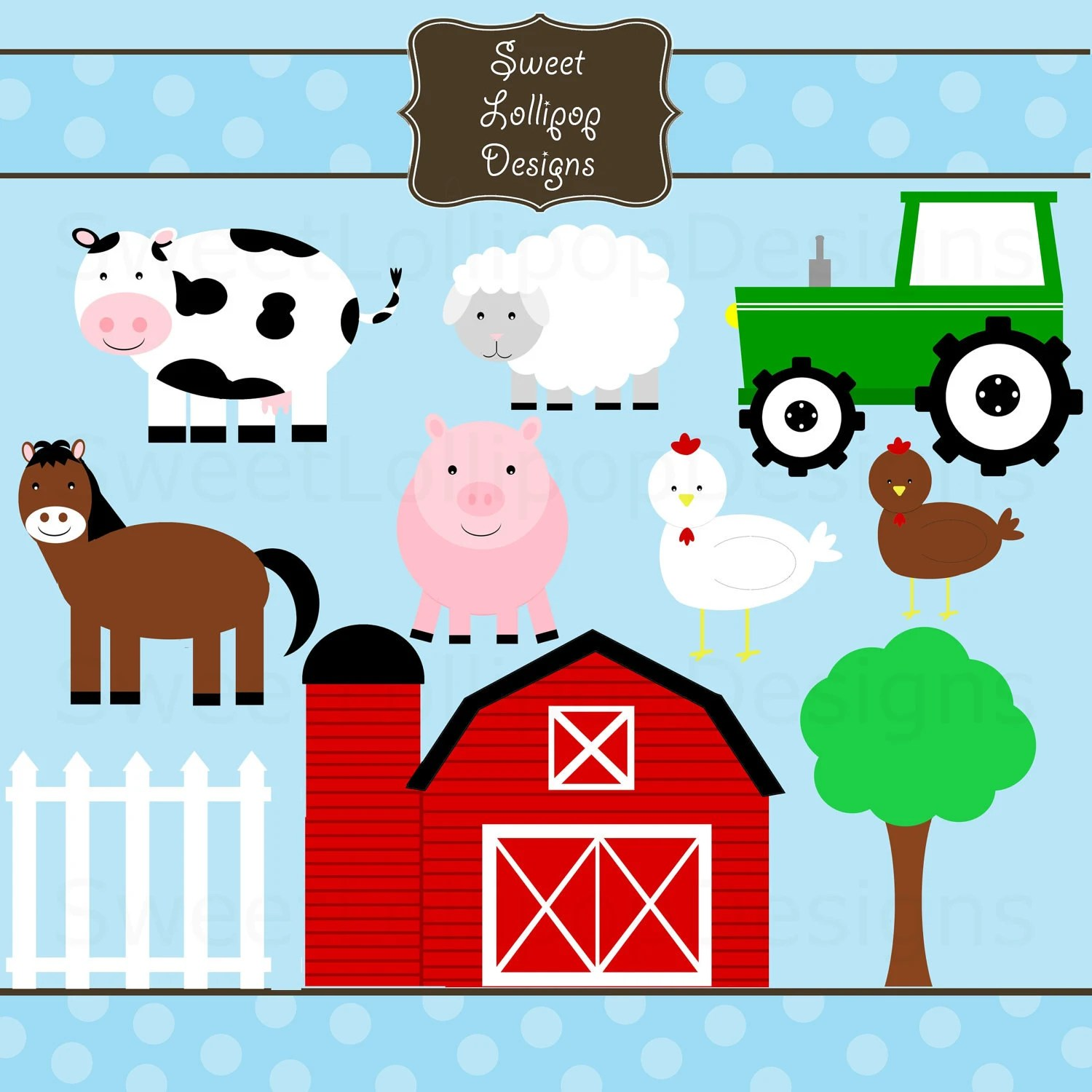 Farm Animals Digital Clip Art Clipart By Avintagepaperie
