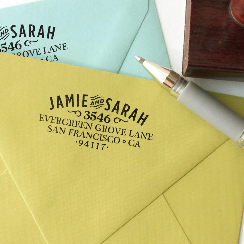 Custom return address stamp WOOD TYPE DESIGN with wood handle
