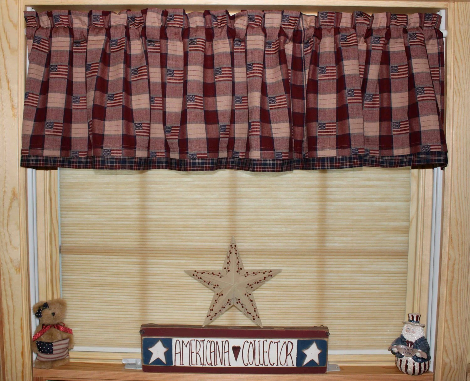 Primitive Americana Country Curtain Window Valance