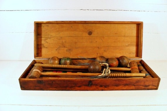 Vintage Antique Croquet Set Wooden By PoetryofObjects On Etsy