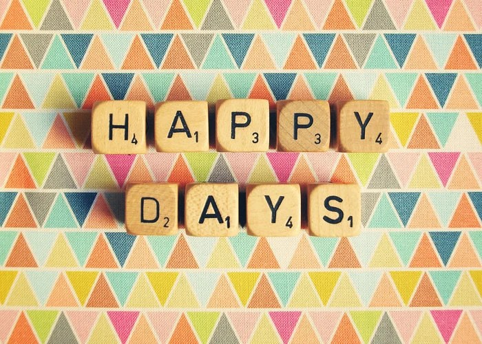 Happy Days. Wedding Décor. Geometric. Vintage Word Dice. Scrabble. Rainbow Triangles. Neon Colors. Fine Art Photography. Size 5x7""