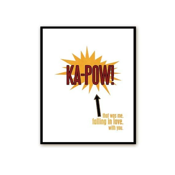 Typography Poster Ka-Pow -Superhero Love - Bold Modern Original Print - Red Yellow Black - 8x10 - hairbrainedschemes