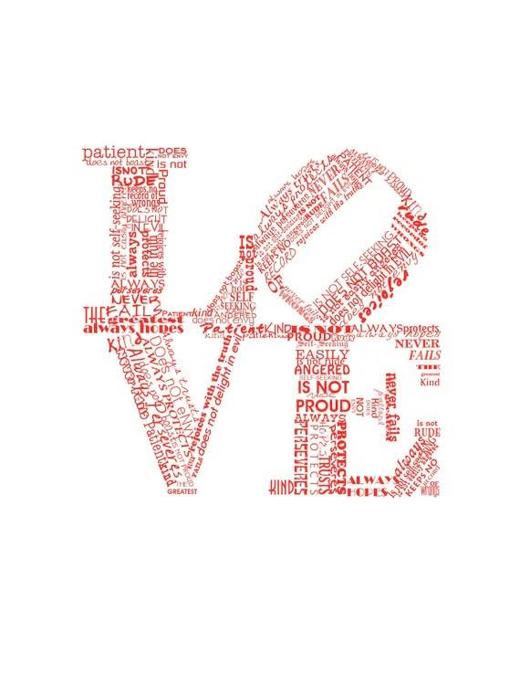 Valentine Print Love Never Fails RED Art Print Valentines Day Gift Valentine Gift