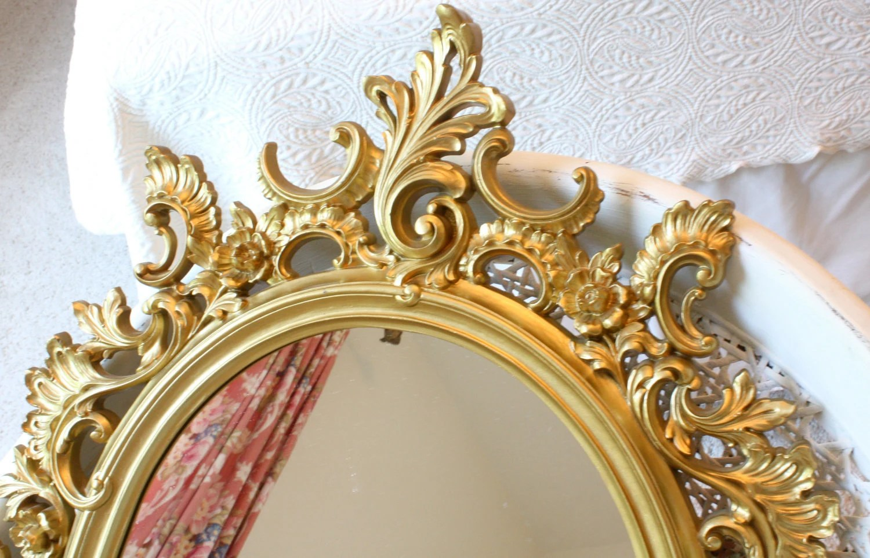 Vintage Syroco Ornate Gold Framed Wall Mirror Hollywood