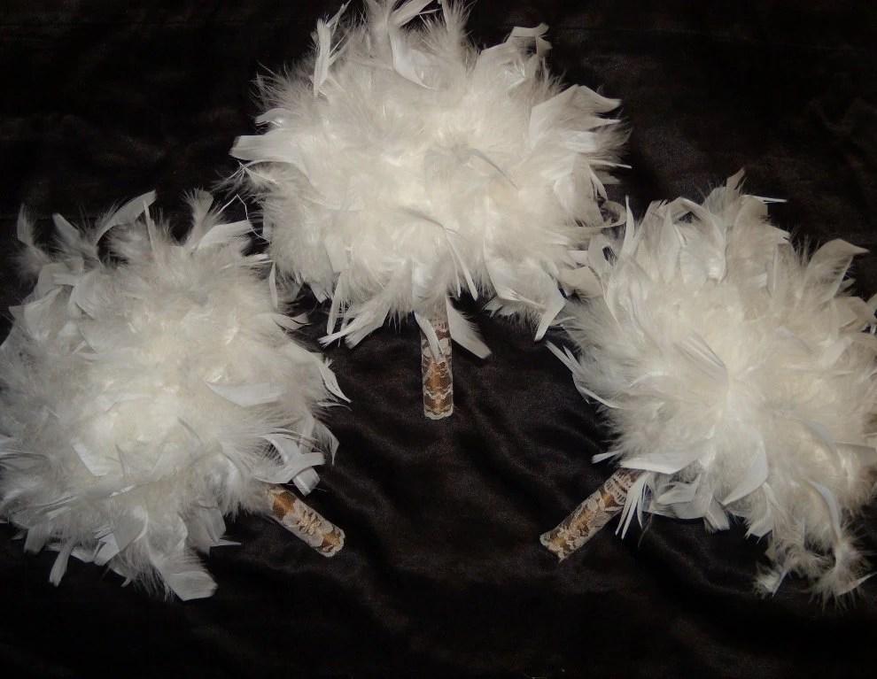 Vintage Style Feather Wedding Bouquet Pomander Champagne