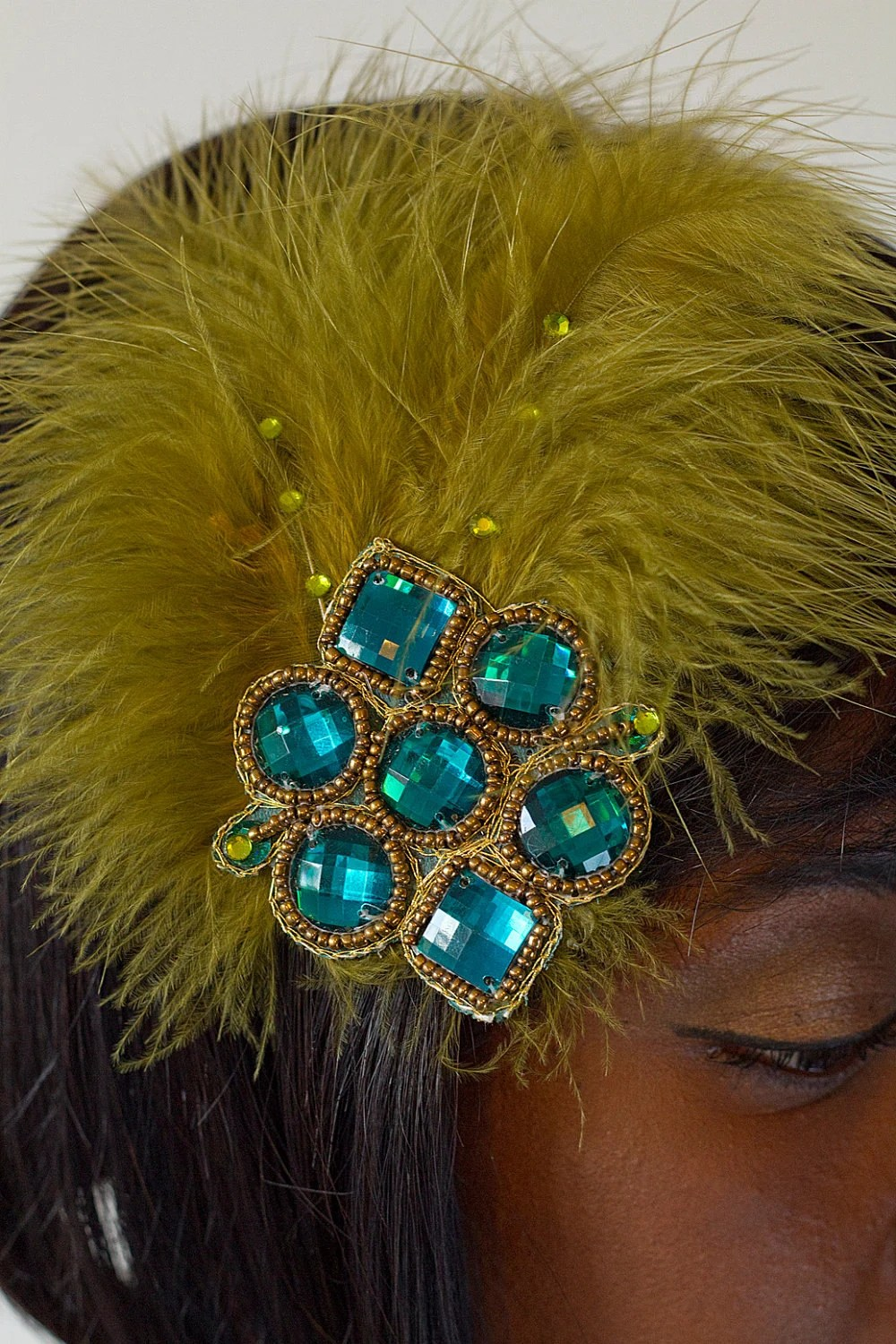 Green Feathered hair clip