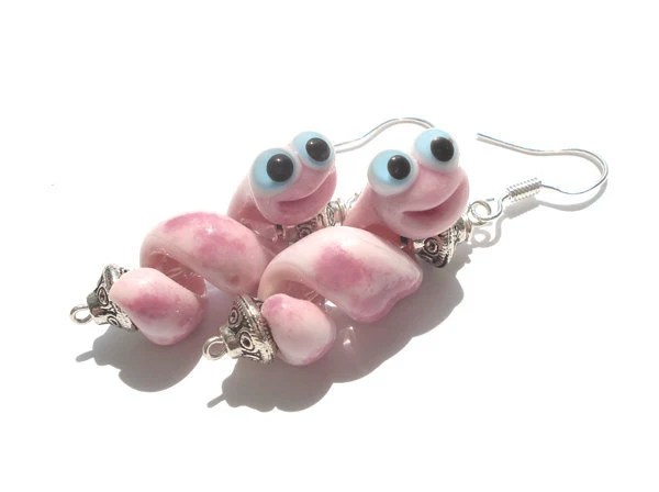 Pink snake glass lampwork earrings