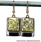 Dangling Earrings Dichroic Glass Gold Black Etched Bubbles - coastalartglass