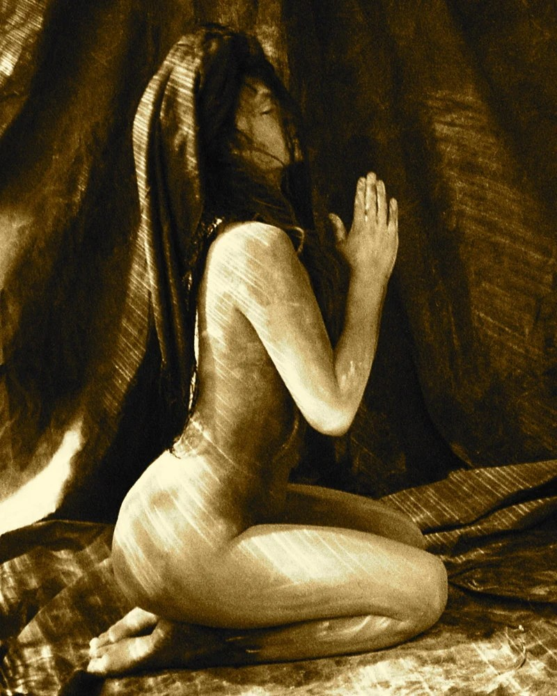 "Tribal, Nude, Meditative, Sepia  - ""Within Silence"" - 8x10"