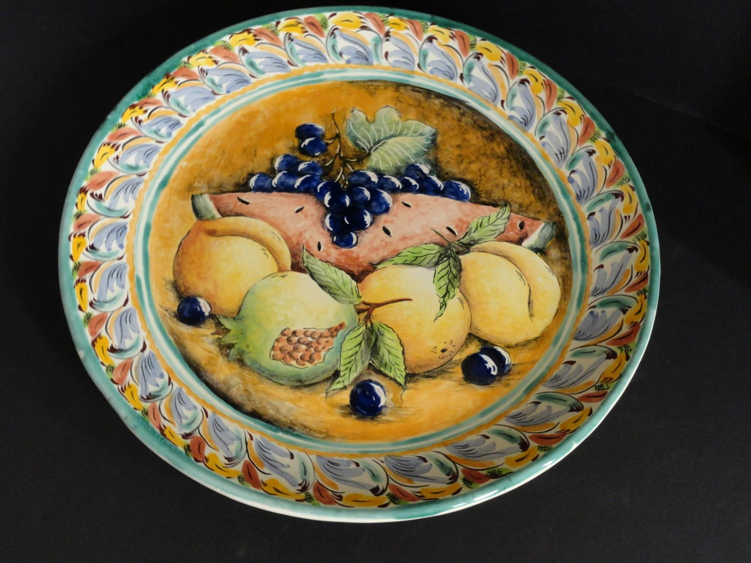 Mexican Majolica Pottery Round Platter 15 IN Signed By Artist
