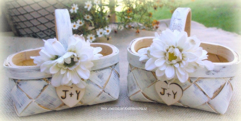 Flower Girl Basket SET Of 2 Rustic Wedding By