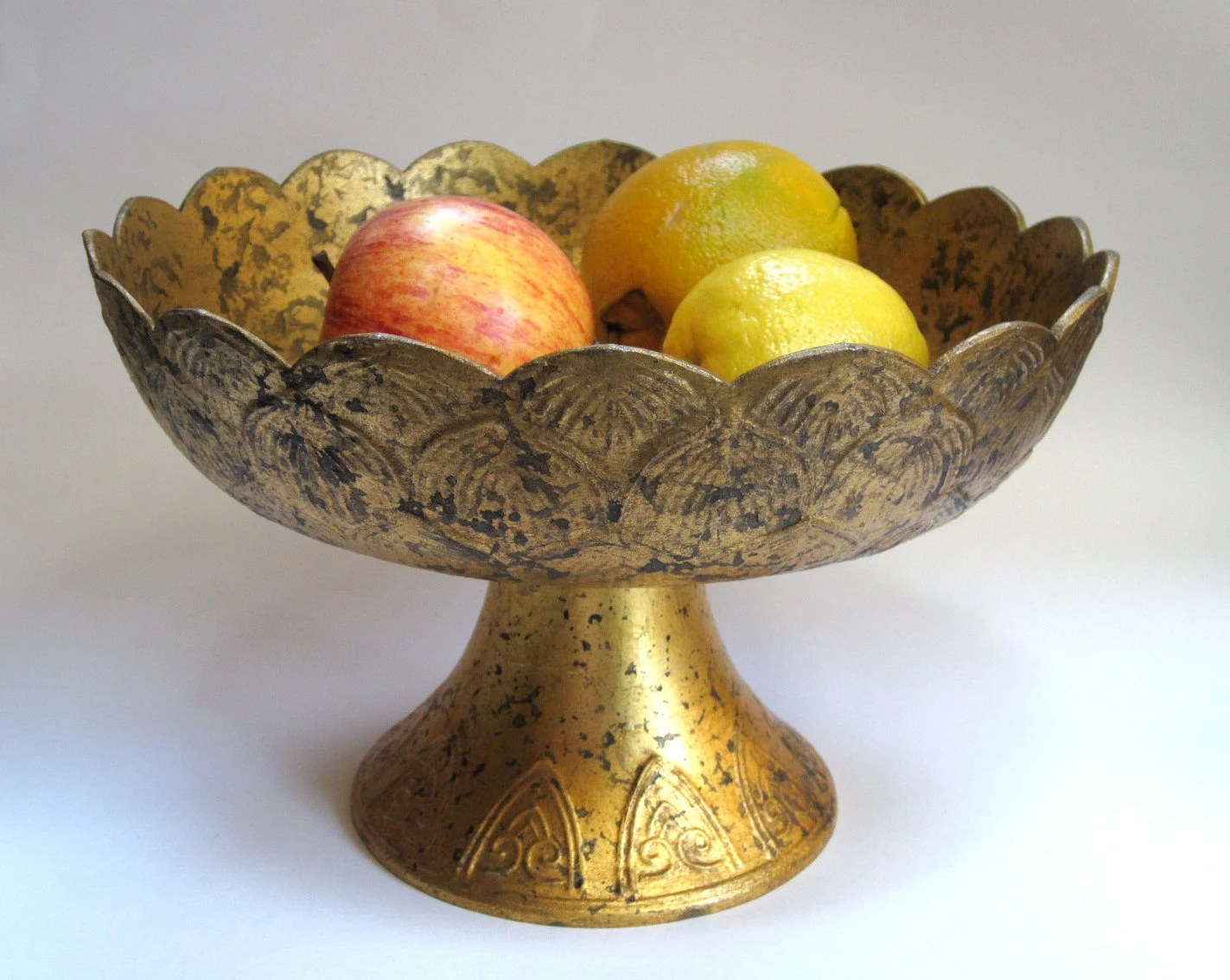 Vintage metal footed bowl - gold with scalloped edges and raised pattern detail - RedAshRedux