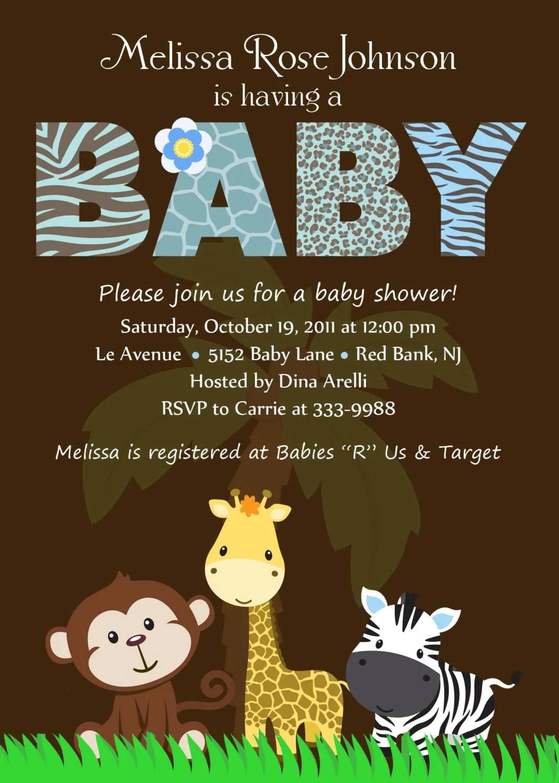 Personalized Animal Safari Jungle Baby Shower By Theprintfairy
