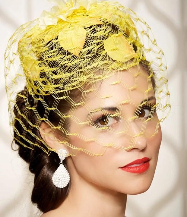 Yellow Garden Wedding Hat Bridal Head Piece Cocktail HatVeil