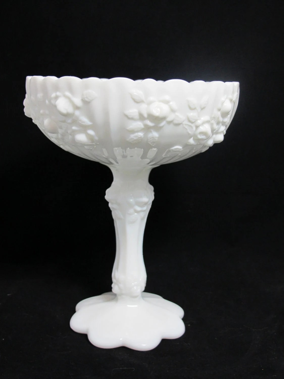 Vintage Fenton Rose Pattern Milk Glass Compote For Wedding
