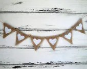 Tiny burlap banner with white glittered hearts - MirtilloShop