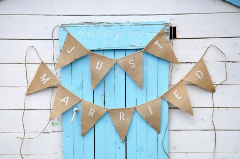 JUST MARRIED burlap wedding bunting