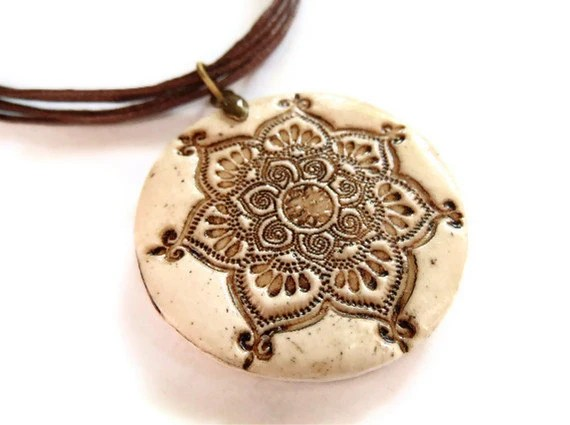 Lotus mandala pendant, faux ivory, aged bone necklace, yoga jewelry - MoonsafariBeads