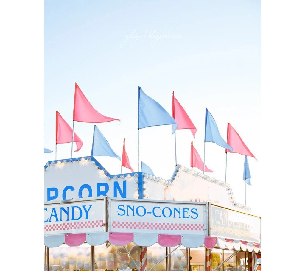 Sno-Cones - fine art photography print funfair carnival rides pink blue romantic sweet bazaar festival market Cotton Candy Oht - GoldenSection