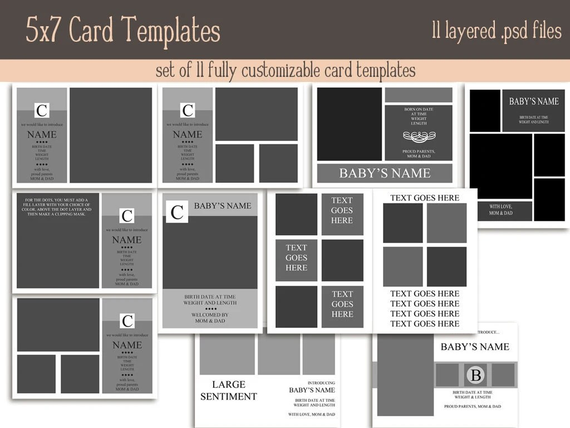HUGE 5x7 Card Template Set INSTANT DOWNLOAD