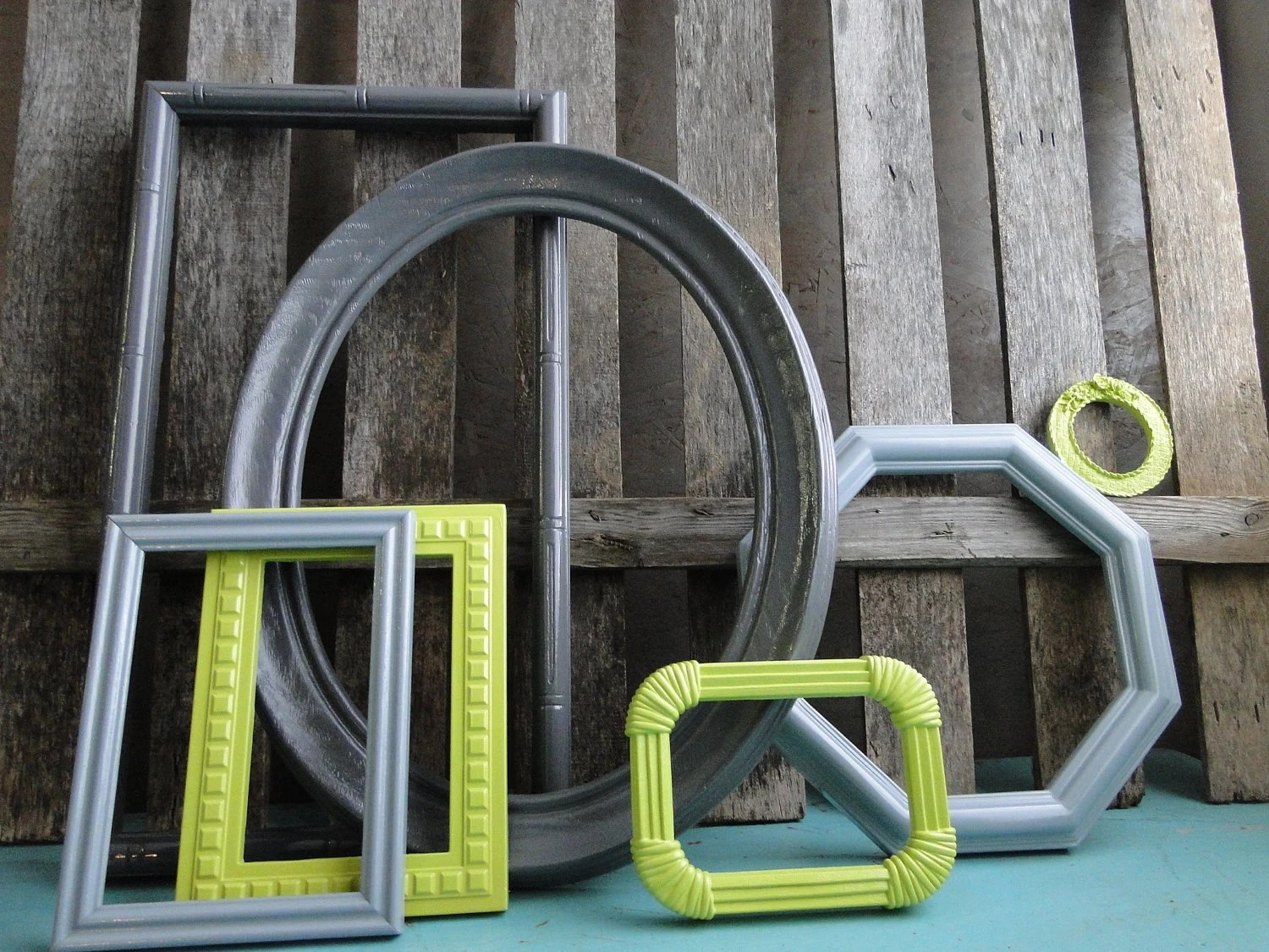 "Frame set collection gallery wall lime green grey white black ""Lime in the Storm II"" - TRWpainted"