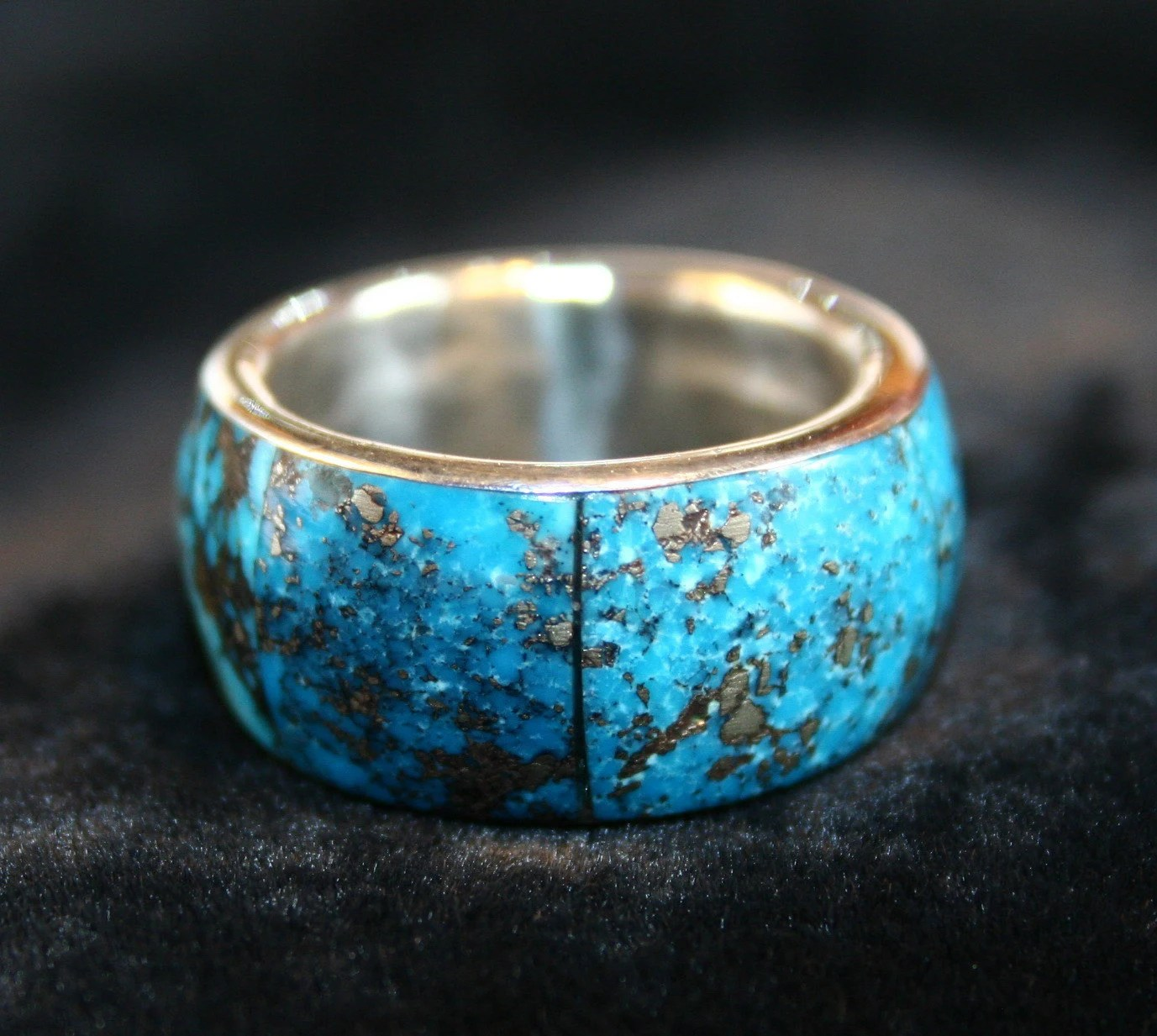 Vintage Native American Mens Turquoise Wedding Band