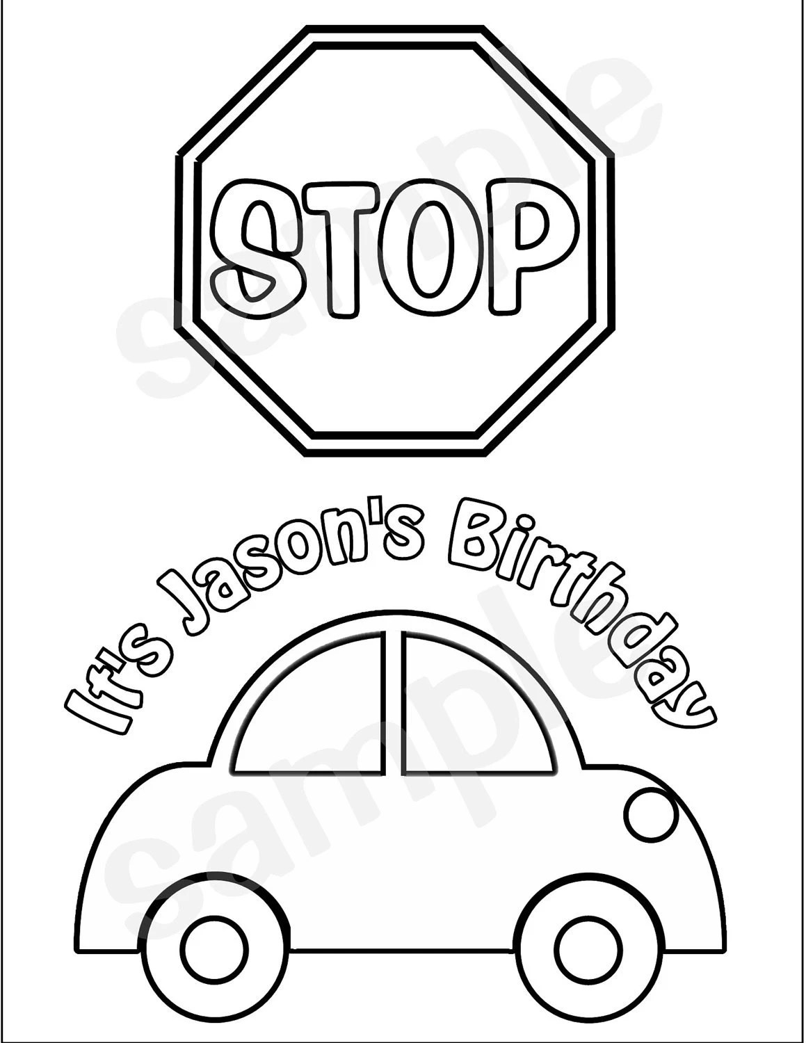 personalized printable transportation stop sign by sugarpiestudio
