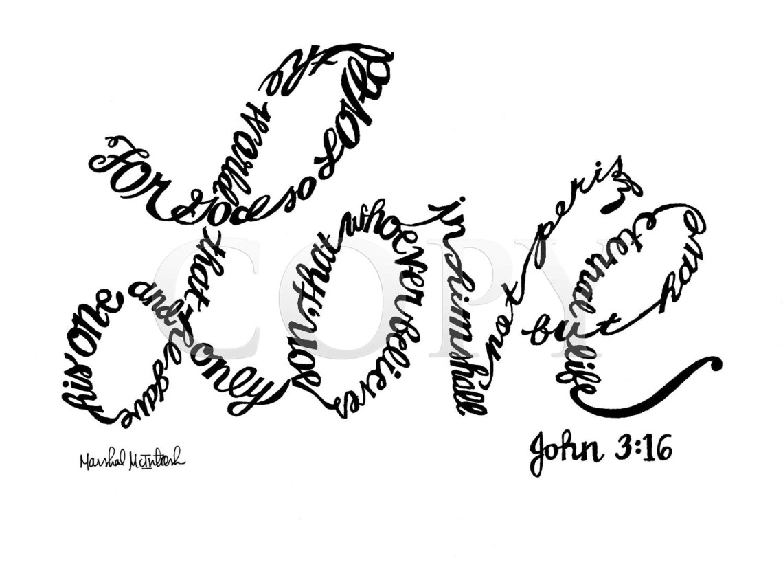 Download God's Love Handwritten 8x10 Print