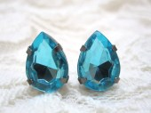 Aqua stud earrings - blue pear crystals on titanium posts - nickel free for sensitive ears - LazyOwlBoutique