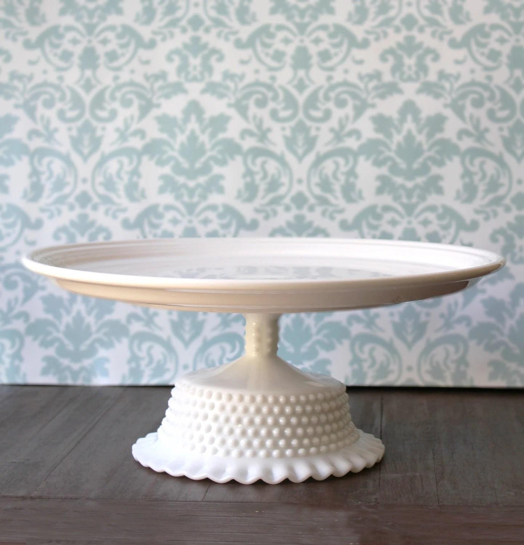 14 Ceramic Cake Stand Milk Glass Cake Pedestal White