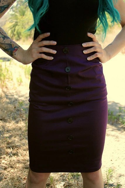 Purple Pinup Pencil Skirt with Buttons by standupstyle on Etsy