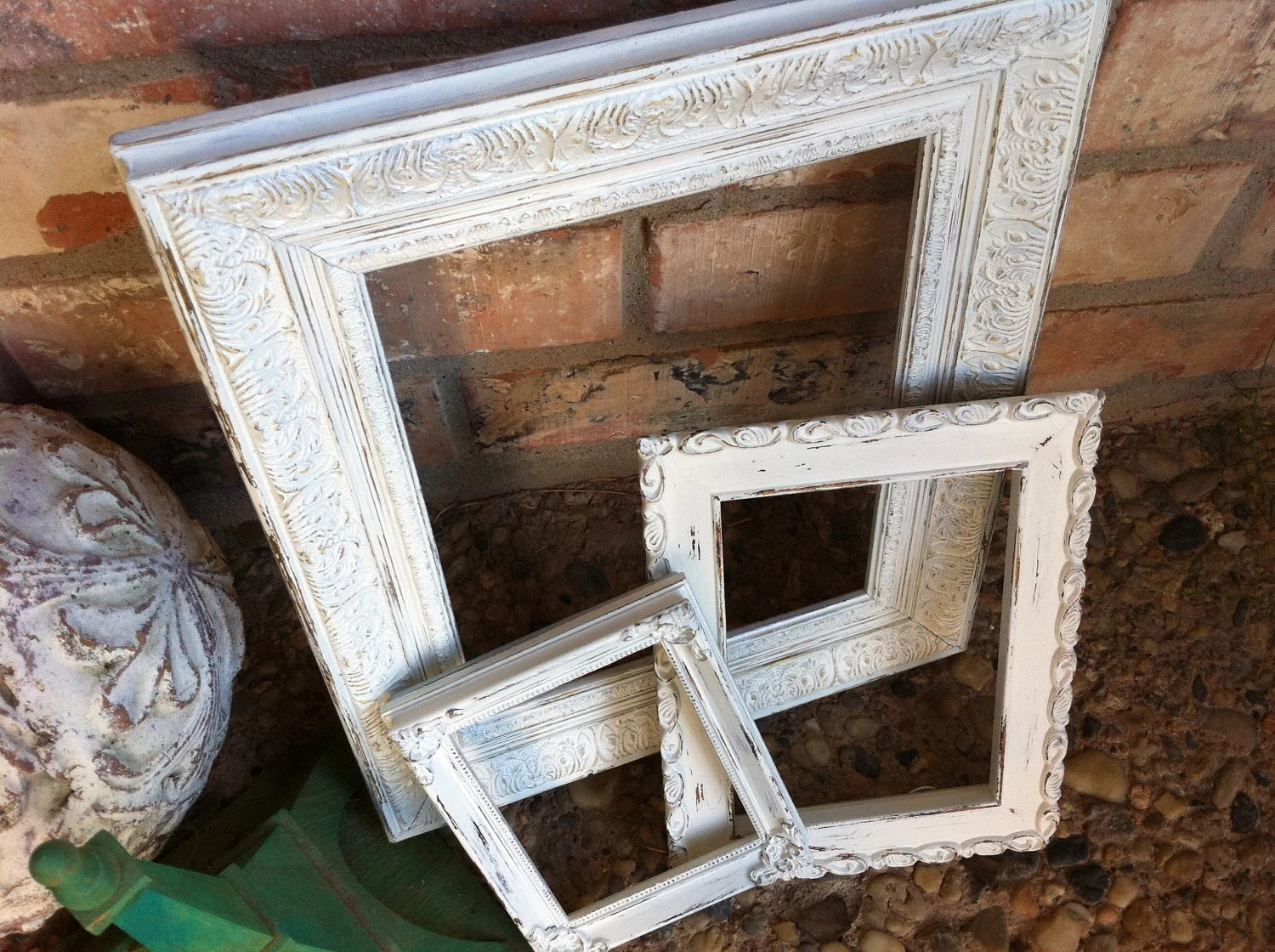 Wedding Decor, Empty Wall of Frames, Mother Goose, Chippy Frames, White Shabby Chic, Distressed Vintage Frames, Home Decor - FeFiFoFun