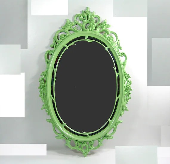 Vintage Oval Ornate Green Wall Mirror Frame By