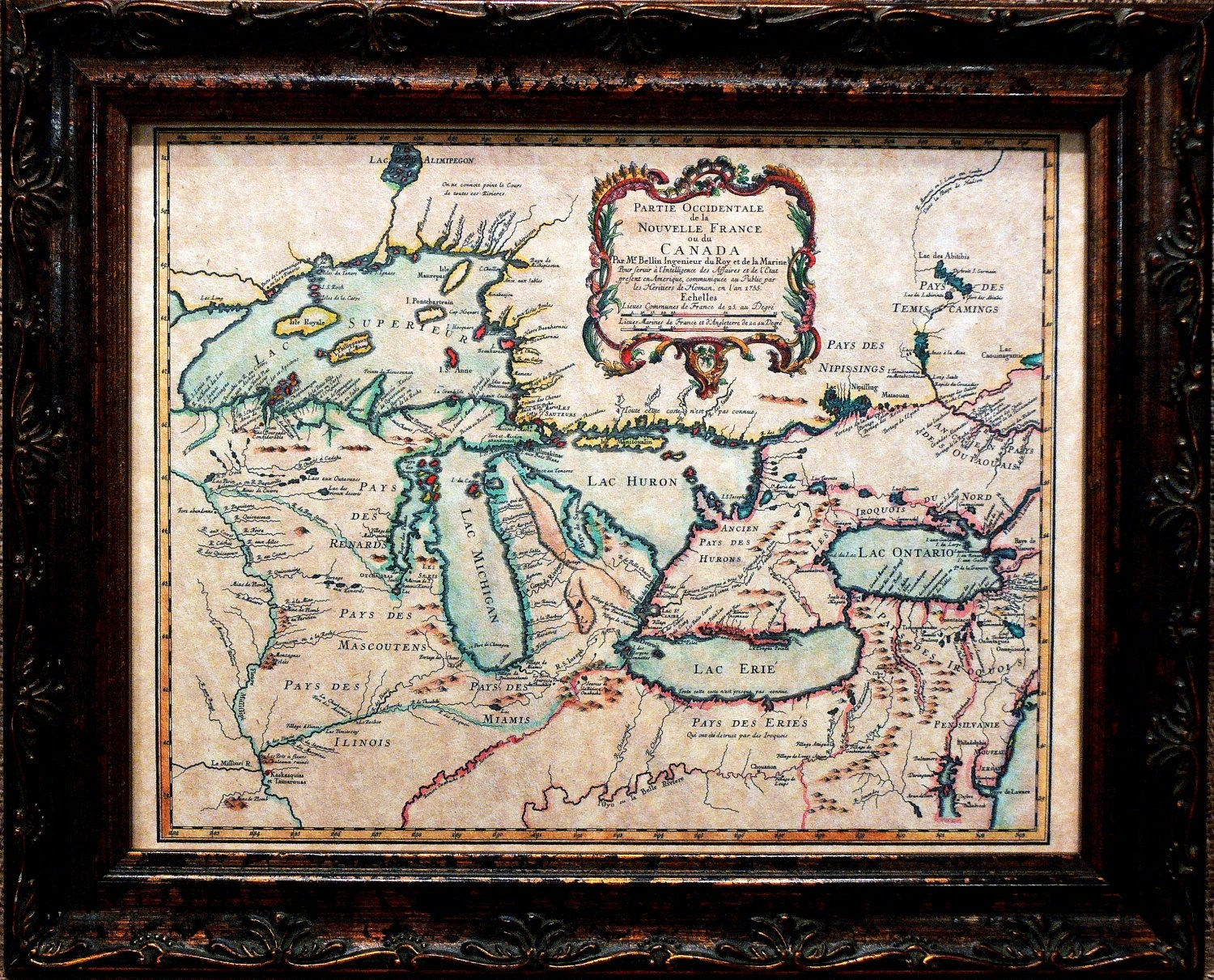 Great Lakes Map Print Of A Map On Parchment Paper