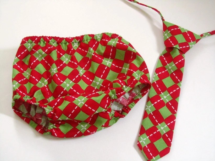 Christmas Argyle Baby Tie and Diaper Cover Set - Perfect for Christmas Photos