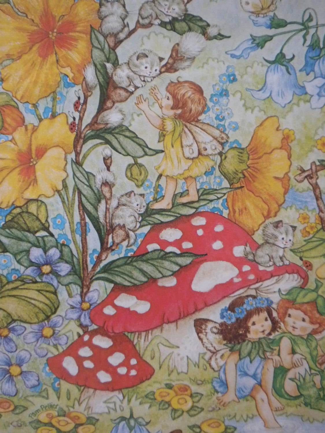 Fairy Gift Wrapping Paper Vintage Gift Wrap Pixies Flower