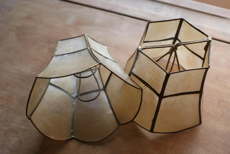 Small Vintage Capiz Shell Lamp Shades