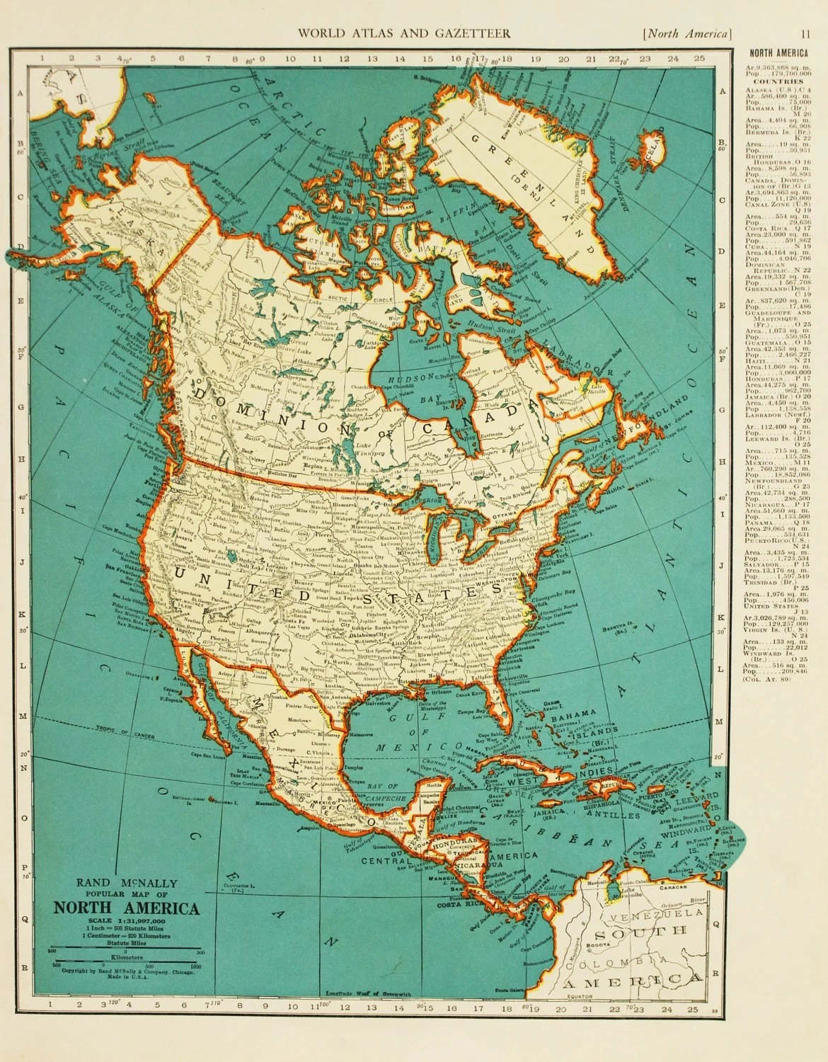 Vintage Map North America United States Original By