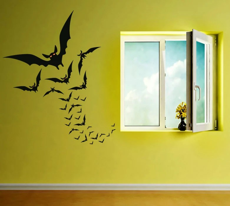 Halloween Flying Bats Vinyl Wall Decal, Flying Bats Halloween Decor for Wall or Window Decorations