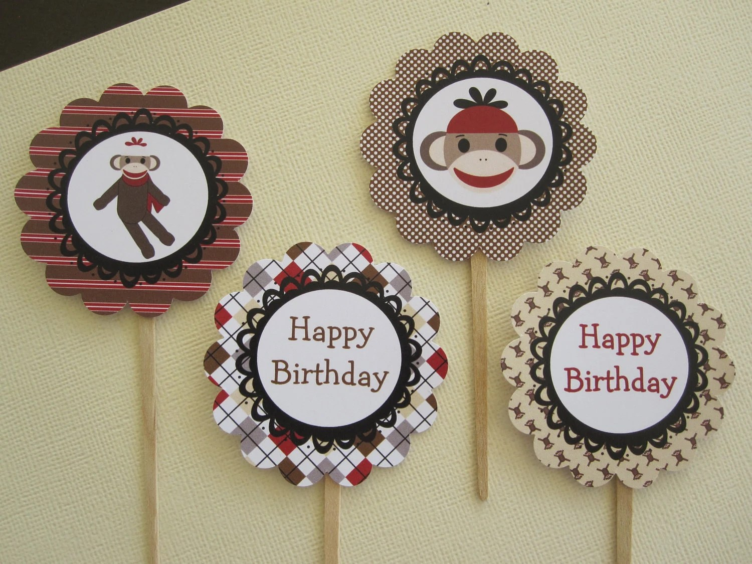 Items Similar To Red & Tan Sock Monkey Cupcake Toppers On Etsy