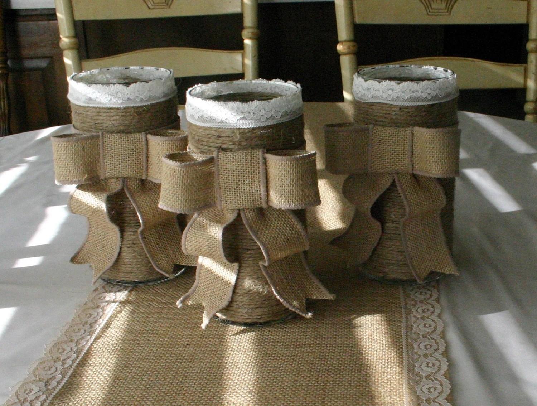 Burlap Wedding Vase FALL Wedding Centerpieces Country Chic
