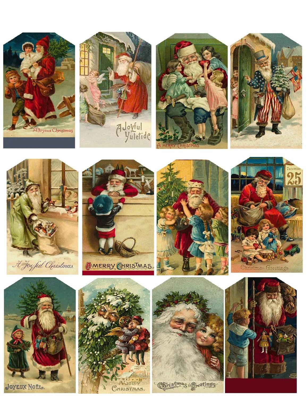 Vintage Christmas Hang Tags Printable Collage Sheet Download