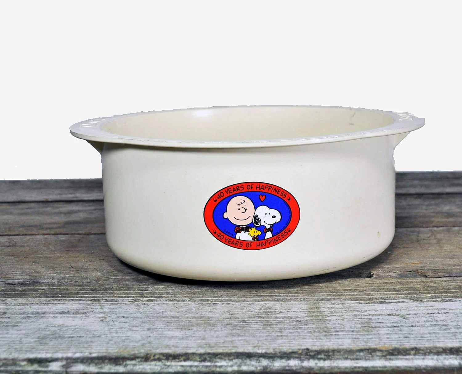 Plastic Chex Bowl 40th Anniversary with Charlie Brown and Snoopy.