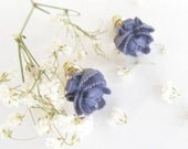 Floral Earring Post-Tiny  Purple  Cabbage Rose Posts-Sweet 16-Kids-Simple Pretty-Great Gift for the Holiday - TasteofShabbyChic
