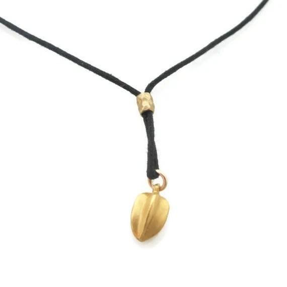 18K Seed Pod Gold Pendant Necklace  ,Small Teardrop Necklace - sheriberyl