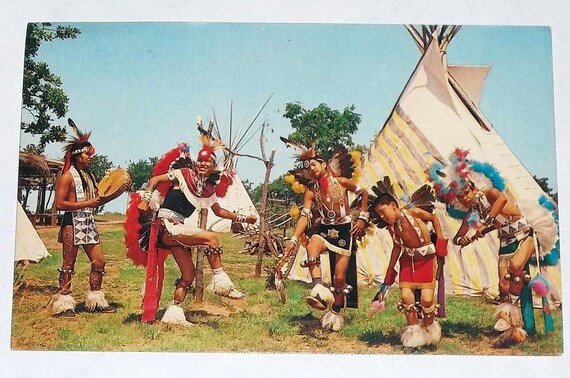 ca1960 postcard, Dancers At Indian City, U.S.A.