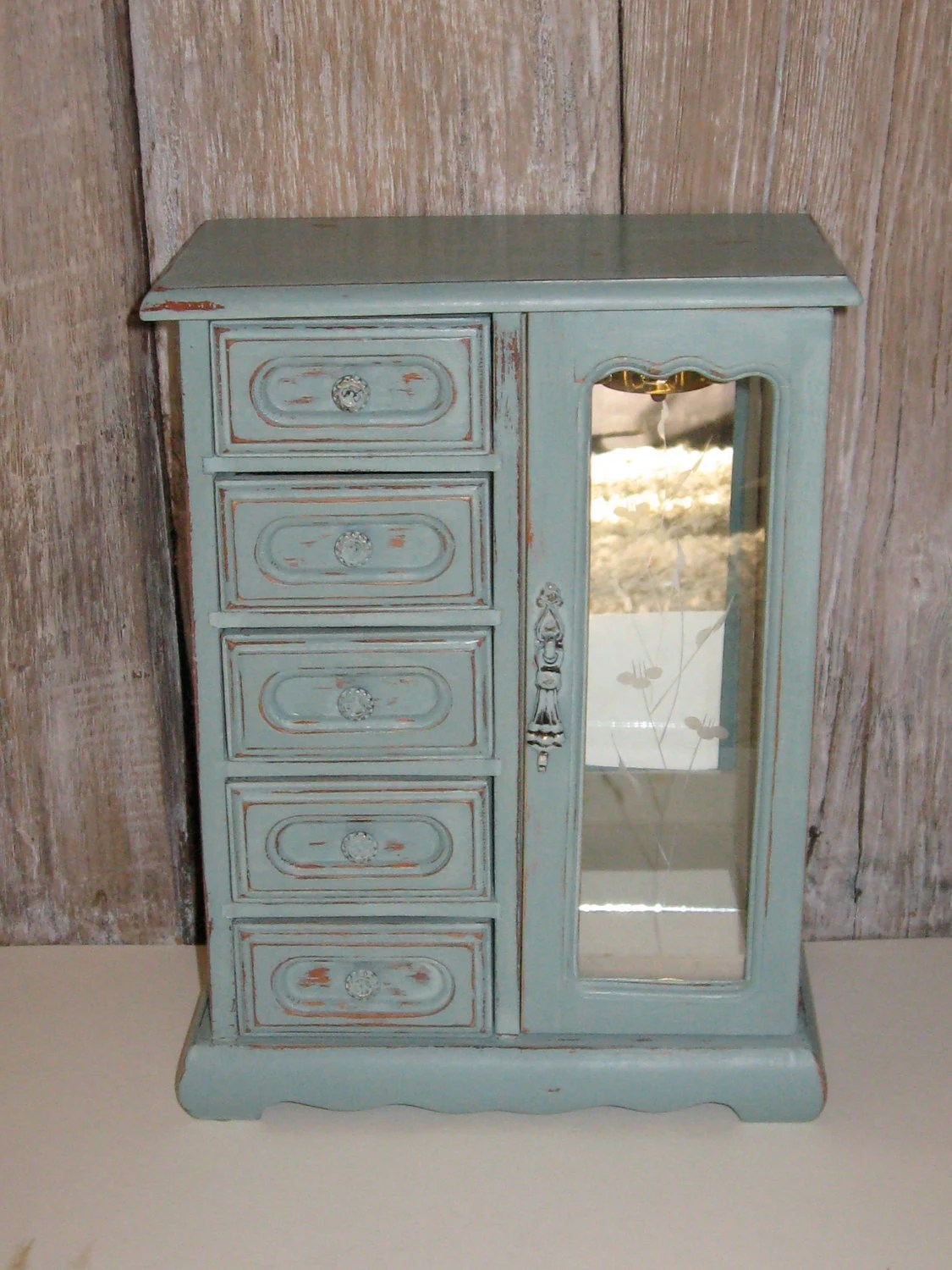 Jewelry Box Shabby Chic Annie Sloan Duck Egg Blue Chalk Paint