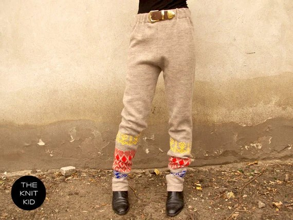 knitted pants beige colorful yellow blue red merino wool theknitkid
