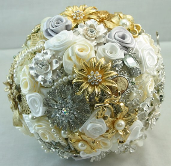 Gold, silver and ivory jeweled wedding bouquet. Deposit on a custom bouquet. Please read description below the picture - annasinclair