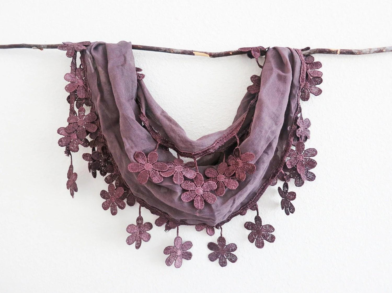 Purple Brown Elegant Sheer Cotton Lace Scarf Headband bandana Belt pareo Cowl Necklace Lariat Versatile - SistersLace